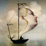 Ship sailing on ocean with beautiful face as sail