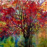Painting of Red Autumn Tree