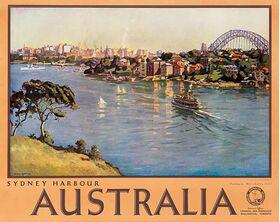 Australia,_Sydney Harbour - Vintage Travel Poster