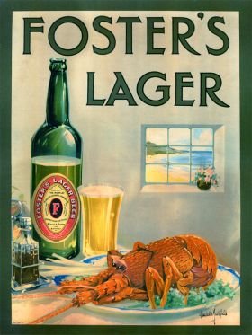 Foster's Lager with Crayfish - Vintage Advertising Poster