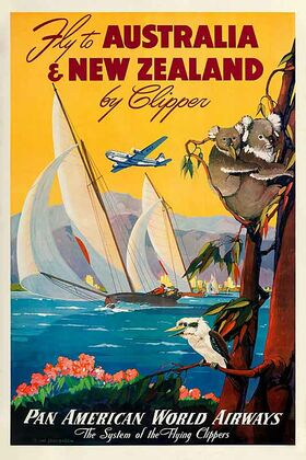 Australia and New Zealand by Clipper - Vintage Advertising Poster by James Northfield