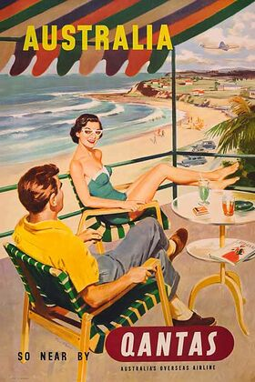 Australia,_So_Near_by_Qantas - Vintage Advertising Poster