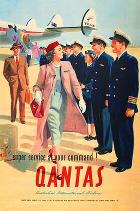 Qantas,_At_Your_Command! - Vintage Advertising Poster