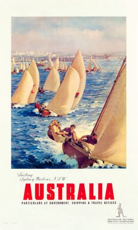 Sailing Sydney Harbour - Vintage Travel Poster by James Northfield