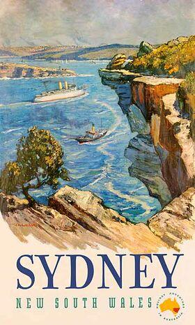 Sydney_Heads Vintage poster