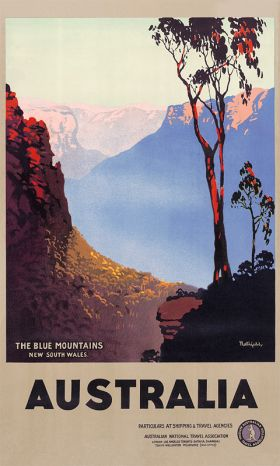 Blue Mountains - Vintage Travel Poster by James Northfield