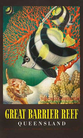 Great_Barrier_Reef,_Butterfly_Fish - Vintage Travel Poster