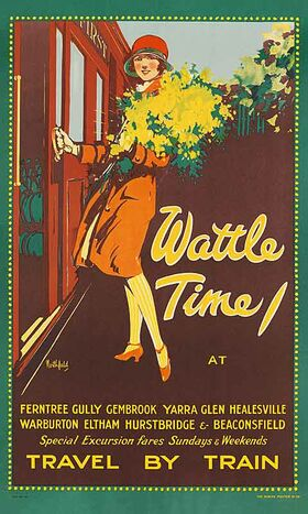 Wattle_Time,_Travel_by_Train Vintage poster