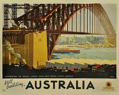 Australia,_Still_Building - Vintage Travel Poster