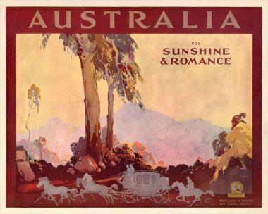 Australia, Sunshine & Romance - Vintage Travel Poster by James Northfield