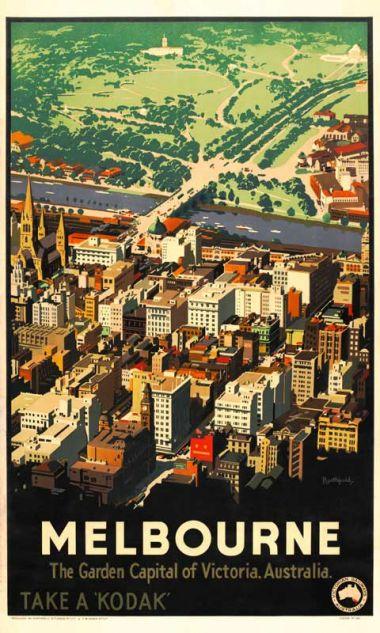 Melbourne - Vintage Travel Poster by James Northfield