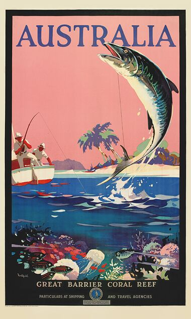 Australia, Great Barrier Coral Reef - Vintage Travel Poster by James Northfield