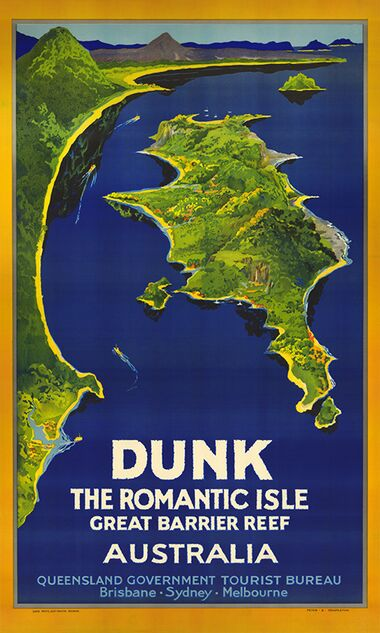 Dunk Island from the Air - Vintage Travel Poster