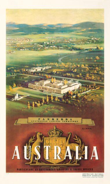Canberra - Vintage Travel Poster by James Northfield