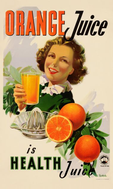 Orange Juice - Vintage Advertising Poster by James Northfield, as seen on The Block